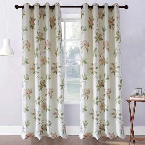 Rideau tamisant imprimé en polyester lin pivoine rose pour chambre à coucher simple pastoral