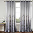 Rideau tamisant imprimé en polyester coton bambou gris pour chambre à coucher simple