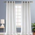 Rideau tamisant jacquard en polyester lin petit carreau blanc pour chambre à coucher simple