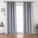Rideau tamisant jacquard en polyester lin petit carreau gris pour chambre à coucher simple