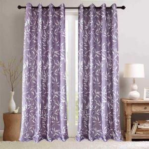 Rideau tamisant imprimé en polyester feuille violet pour chambre à coucher simple