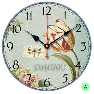 Horloge murale silencieuse en bois 6 modèles rond tulipe pastoral