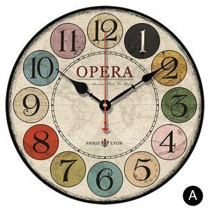 Horloge murale silencieuse en bois 6 modèles rond numéro coloré pastoral