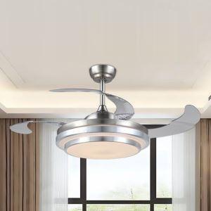 Suspension ventilateur LED en acrylique L108cm or cercle pour salon