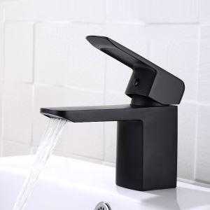 Mitigeur de lavabo laiton H26cm noir pour salle de bain