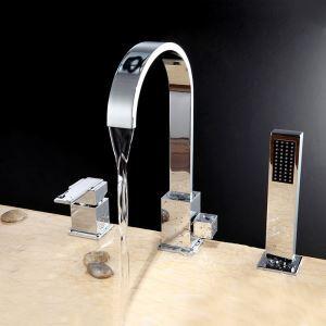 Mitigeur de baignoire avec douchette laiton H33cm 3 trous chromé pour salle de bains