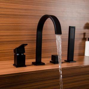 Mitigeur de baignoire avec douchette laiton H25cm 4 trous noir pour salle de bains