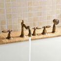 Mitigeur de baignoire avec douchette laiton H15.8cm 2 poignées 5 trous 2 modèles pour salle de bains