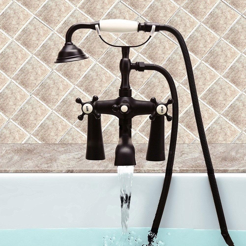Mitigeur de baignoire avec douchette laiton 2 poignées 2 ...