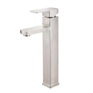 Robinet de lavabo monocoque contemporain en acier inoxydable brossé