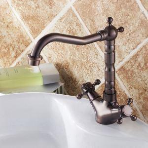 Robinet de lavabo ORB ou noir antique 2 poignées pour salle de bain