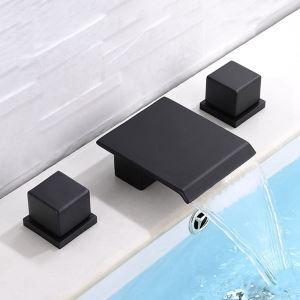 Robinet de baignoire noir en laiton massif pour salle de bain 2 poignées 3 trous