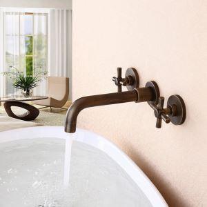 Robinet de lavabo mural pour salle de bain à double poignée en laiton antique