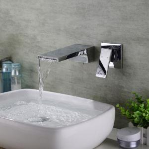 Robinet de lavabo cascade à monocommande en laiton chromé, montage mural