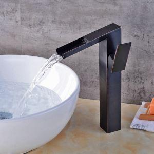 Robinet de vasque en laiton massif avec bec incliné pour salle de bains