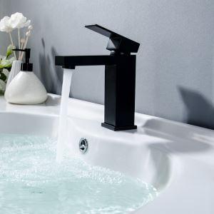 Robinet de lavabo carré noir / chrome à fixation simple pour salle de bains