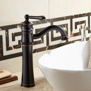 Robinet d'évier en laiton massif pour salle de bains, noir antique