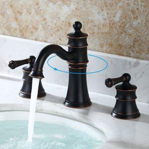 Robinet de lavabo à deux poignées pour salle de bains, bronze antique /noir huilé.