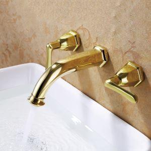 Robinet d'évier en laiton massif pour salle de bains, montage mural,laiton doré / chrome / noir antique ORB