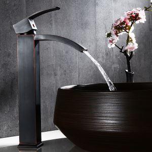 Robinet de lavabo cascade en laiton massif à bec unique, noir antique, style haut