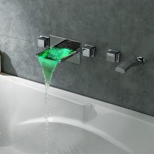 Mitigeur de baignoire avec douchette LED cassade laiton H7.2cm 2 poignées chromé pour salle de bains