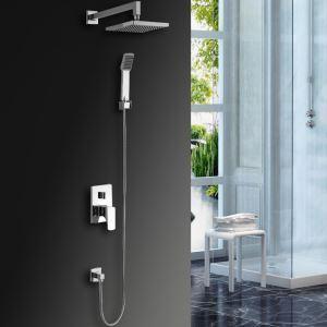 Colonne de douche avec robinetterie LED encasrtée laiton chromé pour salle de bains
