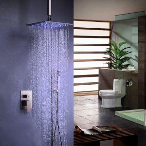 Colonne de douche avec robinetterie LED encasrtée acier inoxydable brossé montage au plafond pour salle de bains