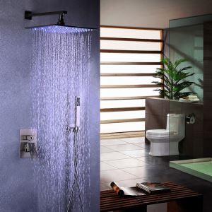 Colonne de douche avec robinetterie LED encasrtée acier inoxydable brossé pour salle de bains moderne