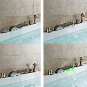 Mitigeur de baignoire avec douchette LED cassade laiton H7cm 3 poignées brossé pour salle de bains