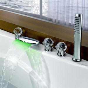 Mitigeur de baignoire avec douchette LED cassade laiton H4.5cm 3 poignées chromé pour salle de bains