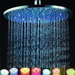 Pommeau de douche laiton LED D30cm rond 7 couleurs pour salle de bains