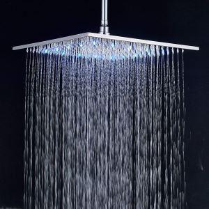 Pommeau de douche laiton LED D30cm carré 7 couleurs chromé pour salle de bains