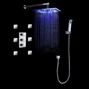 Colonne de douche  LED avec robinetterie encasrtée laiton chromé pour salle de bains