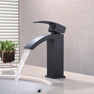 Robinet de lavabo noir peinture de cuisson eau froide chaud pour salle de bain