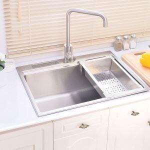 Moderne évier à encastrer inox, 1 bac carré avec oanier de vitage et porte couteau pour cuisine