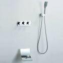 Robinet de baignoire avec douchette chromé encastrée pour salle de bains