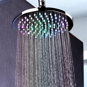 Pommeau de douche LED D20.3cm rond avec 7 couleurs pour salle de bains