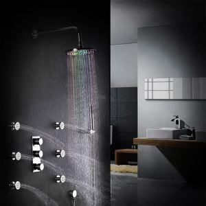 Colonne de douche LED moderne avec douchette à main et jet de corps, montage mural