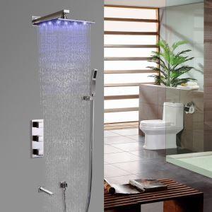 Colonne de douche LED moderne avec douchette à main et bec de baignoire en nickel brossé, montage mural