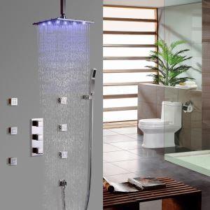 Colonne de douche LED contemporain avec 6 jets de corps, douchette à main en nickel brossé