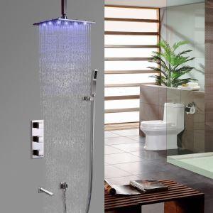 Colonne de douche LED nickel brossé avec douchette à la main et rejet de baignoire pour salle de bains