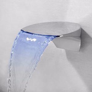 Robinet d'évier cascade à LED pour salle de bains, finition chromé