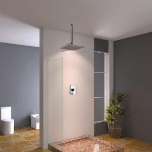 Pomme haute carrée en laiton chromé pour salle de bains
