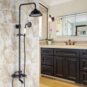 Colonne de douche avec robinetterie en laiton noir style rétro pour salle de bains