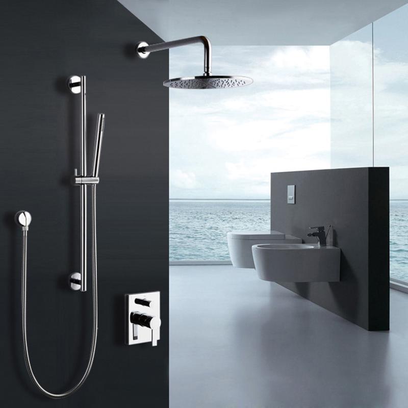 Colonne de douche contemporaine avec robinetterie et douchette à mian  encasrtée chromé pour salle de bains