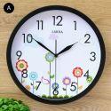 Horloge murale silencieuse en fer 6 modèles rond simple plante mignon