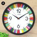 Horloge murale silencieuse en fer 6 modèles rond coloré