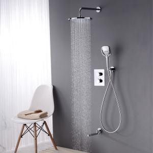 Colonne de douche encastrée thermostatique avec douchette D 25 cm chrome pour salle de bains