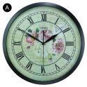Horloge murale silencieuse en fer 4 modèles rond pivoine