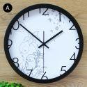 Horloge murale silencieuse en fer 6 modèles lis rond simple